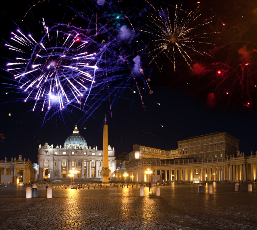 Vatican. Celebratory fireworks over a St Peter's Square