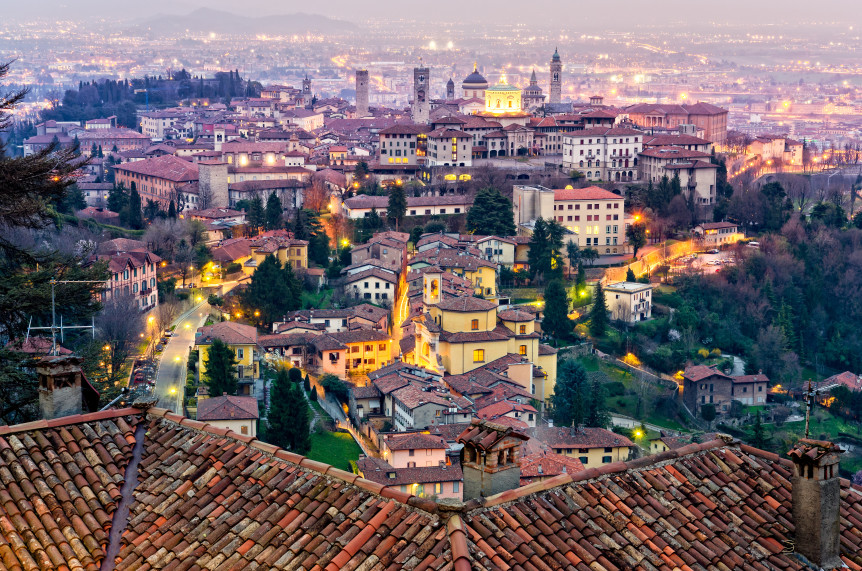 Scenic view of Bergamo old town cityscape at sunset Italy Europe