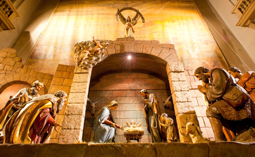 TRIESTE, ITALY - DECEMBER, 25: View of Nativity scene, in Italy called presepe, typical Christmas decoration on December 25, 2011