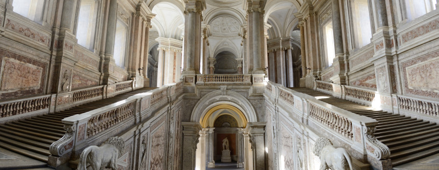 CASERTA ITALY- FEBRUARY 16: Caserta Royal Palace called the little Versailles has been featured in the Star Wars movie and is a unesco world heritage site on February 16 2014 in Caserta