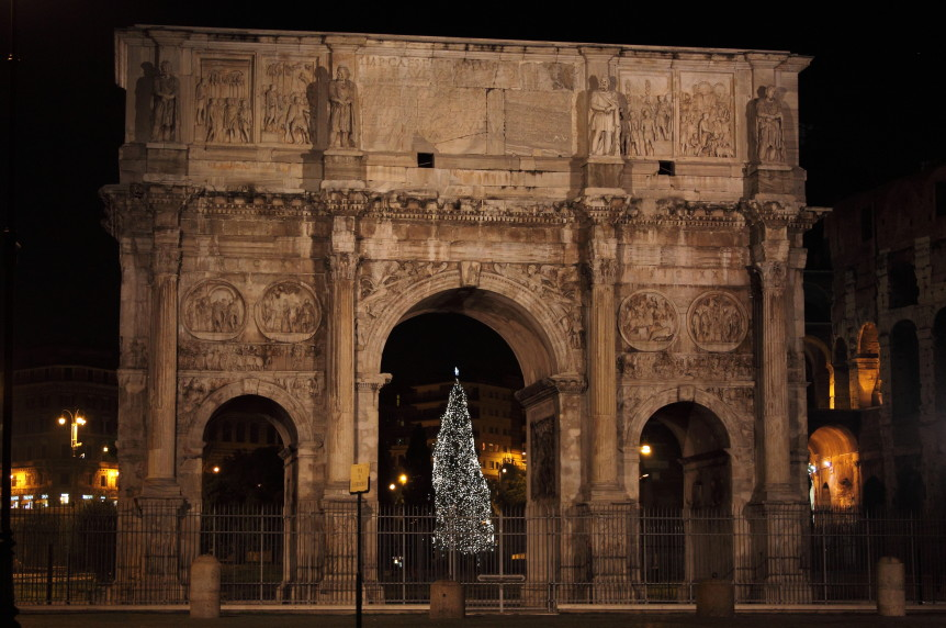 Arch of Constantine by night in Christmas time. Rome, Italy ** Note: Soft Focus at 100%, best at smaller sizes