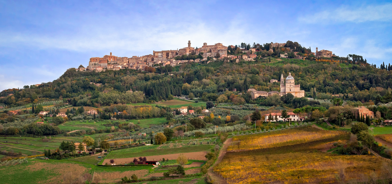 Montepulciano Tuscany Italy view of the village at the top of a hill