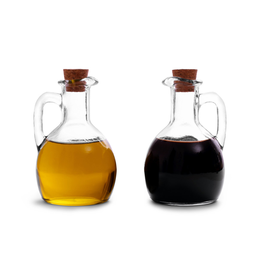 Olive oil with Italian balsamic vinegar of Modena isolated