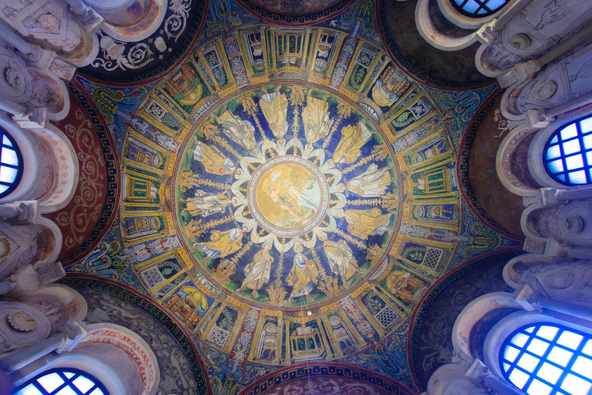 RAVENNA ITALY - JAN 18 2015: The ceiling mosaic in the Baptistery of Neon (Battistero Neoniano) in Ravenna Emilia-Romagna Italy ** Note: Soft Focus at 100%, best at smaller sizes