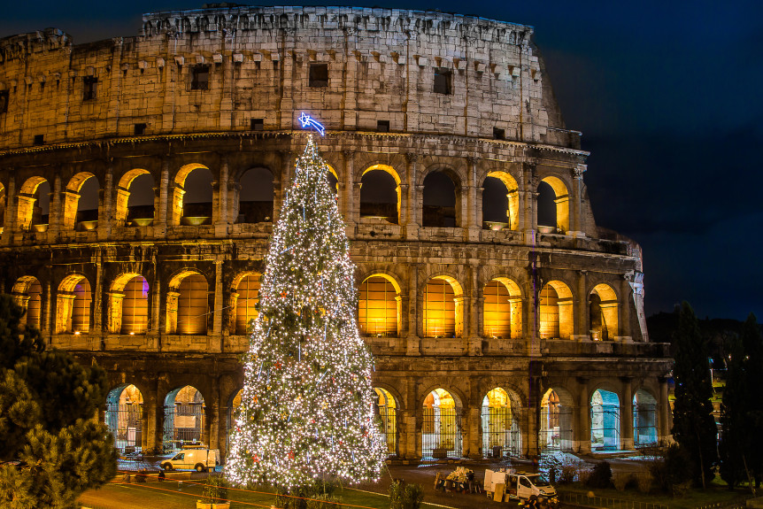 The Iconic the legendary Coliseum of Rome Italy on christmas