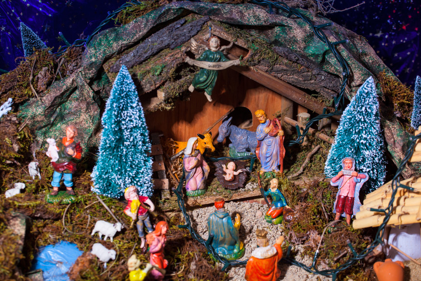 LEONFORTE, ITALY - JANUARY, 08: View of nativity scene in Italian called Presepe on January 08, 2014